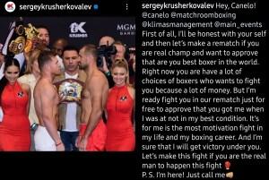 Sergey Kovalev calls out Canelo Alvarez for a rematch