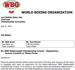 WBO orders Terence Crawford v Shawn Porter