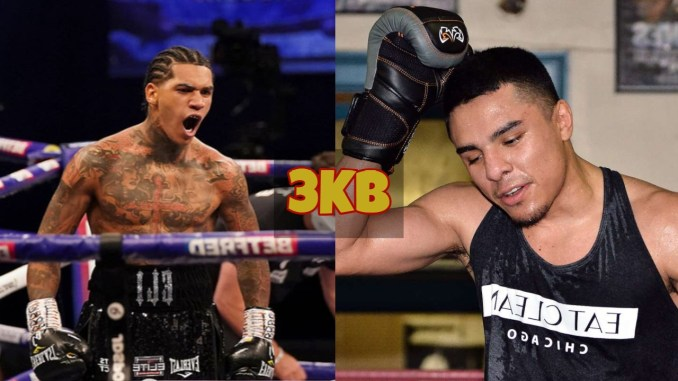 Conor Benn yells in celebration after victory; Adrian Granados rubs his head in confusion.