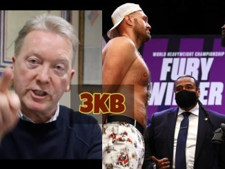 Frank Warren angrily points at the camera; Tyson Fury and Deontay Wilder face-off.