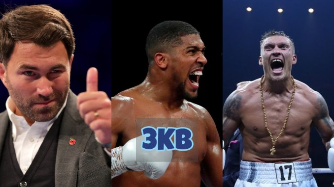 Eddie Hearn gives a thumbs up; Anthony Joshua screams after victory; Oleksandr Usyk screams after victory.