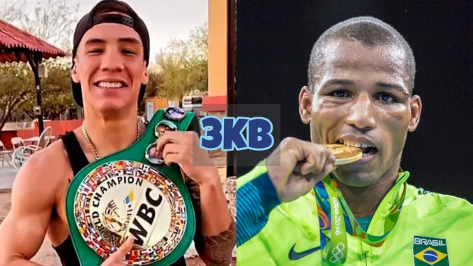Oscar Valdez with the WBC title; Robson Conceicao bites the Olympic gold medal.