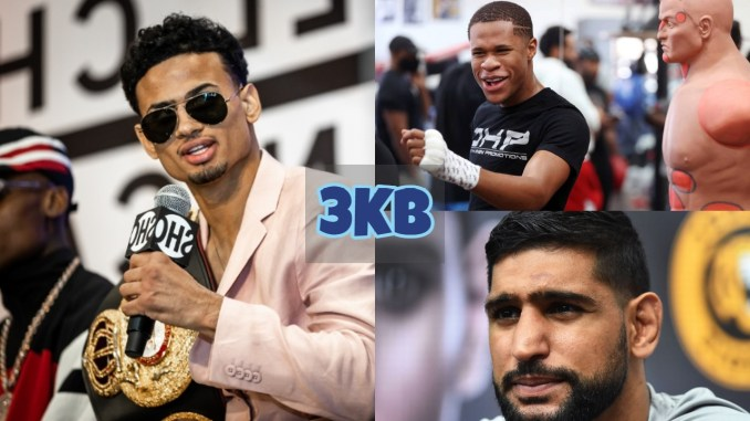Rolando Romero with the WBA Interim title; Devin Haney scoffs at a comment; Amir Khan looks towards the media.