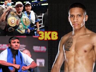 (clockwise from top left) WBA super flyweight champion Juan Francisco Estrada, Joshua Franco, Roman Gonzalez