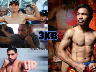 (clockwise from top left) Mikey Garcia, eight-division champion Manny Pacquiao, Danny Garcia, former world welterweight champion Keith Thurman