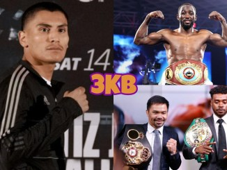 (clockwise from left) Vergil Ortiz, WBO welterweight champion Terence Crawford, Manny Pacquiao and unified welterweight champion Errol Spence Jr.