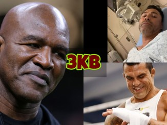 Evander Holyfield snickers at the media; Oscar De La Hoya lying in a hospital bed; Vitor Belfort wraps his hands.