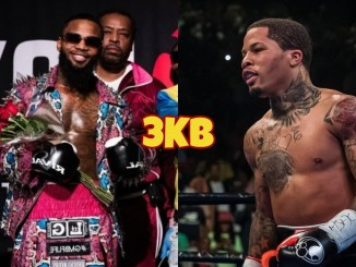 Montana Love takes a picture before his ring entrance; Gervonta Davis smiles at his opponent.