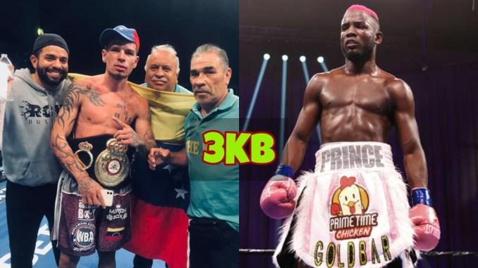 Roger Gutierrez with his team and the WBA title around his waist; Chris Colbert looks towards Gutierrez.
