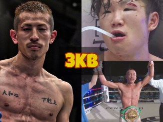 Collage of Masamichi Yabuki with the WBC belt and Kenshiro Terajiwith a cut over his right eye.