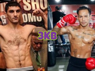 Artem Dalakian flexes at a weigh-in; Luis Concepcion flexes after training.
