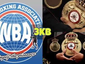 WBA logo; WBA belt being cradled.