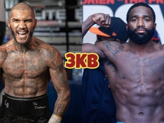 Conor Benn flexes his muscles while yelling at the camera; Adrien Broner flexes after a weigh-in.