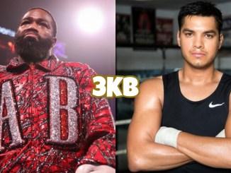 Adrien Broner in his ring-walk attire, Omar Figueroa poses in the ring