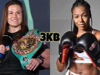 WBC junior welterweight champion Chantelle Cameron with a microphone, IBF junior welterweight champion Mary McGee posing in boxing gloves