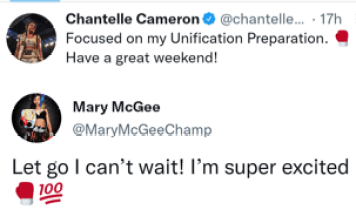 Chantelle Cameron and Mary McGee express hype up the announcement of their unification fight