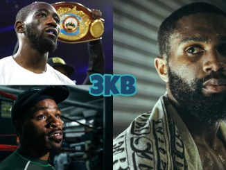 (clockwise from top left) Terence Crawford in the ring before a match, Jaron Ennis looking to his left, Shawn Porter speaking to the media