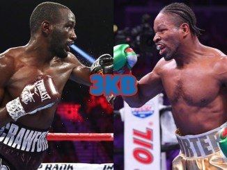 WBO welterweight champion Terence Crawford attacks his opponent, former champion Shawn Porter goes on the offensive