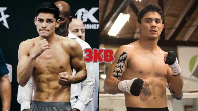Ryan Garcia shadow boxes at weigh-in, WBC interim lightweight champ Joseph Diaz poses during training