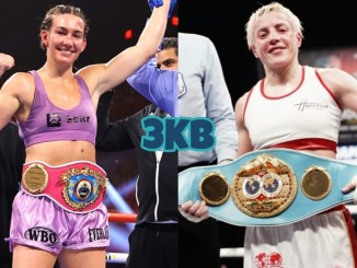 WBO junior lightweight champion Mikaela Mayer poses after a victory, IBF champion Maiva Hamadouche holding her belt in the ring