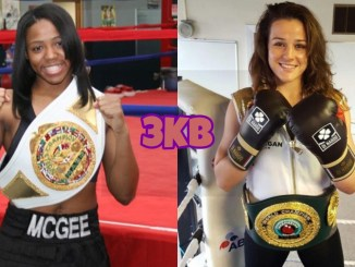 IBF junior welterweight champion Mary McGee poses with her title, WBC junior welterweight champion Chantelle Cameron poses in the ring