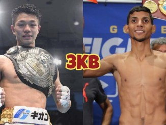 WBO flyweight champion Junto Nakatani poses in the ring, Angel Acosta flexes at weigh-in