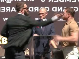 Caleb plant slaps Canelo Alvarez at a press conference