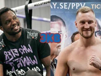 Dillian Whyte sits while looking to his left, Otto Wallin poses at a fight press event