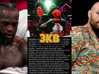 Deontay Wilder looks down after a bad round; Wilder's social media post congratulating Tyson Fury; Fury looks back at the media.