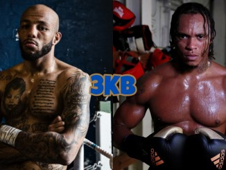Lyndon Arthur poses in the ring, Anthony Yarde poses in boxing gloves