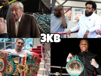 (clockwise from top left) Bob Arum speaks with the press, Bill Haney looking on from the ring, Devin Haney poses with his WBC lightweight belt, Teofimo Lopez with his titles