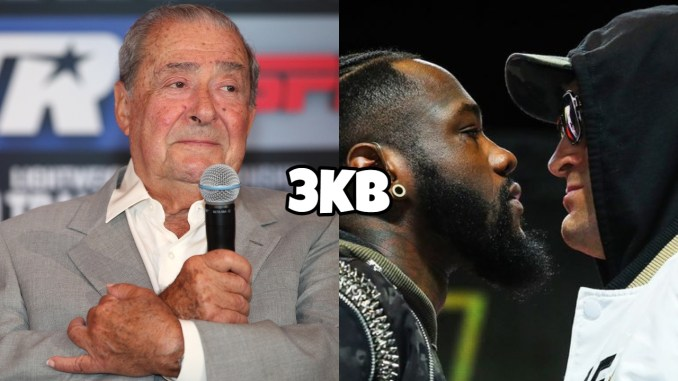 Bob Arum holding a mic, Deontay Wilder and Tyson Fury face-off