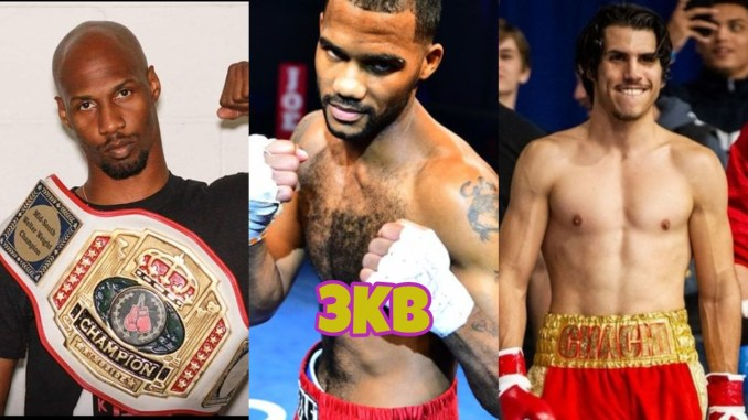 Dedrick Bell with a title belt, Tyrone Luckey in a fighting pose, Eduardo Aguilar in boxing attire