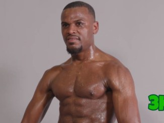 Super middleweight Germaine Brown posing following his fight with Jamal Le Doux