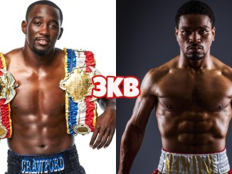 WBO welterweight champion Terence Crawford with two title belts; Shawn Porter poses for the camera.