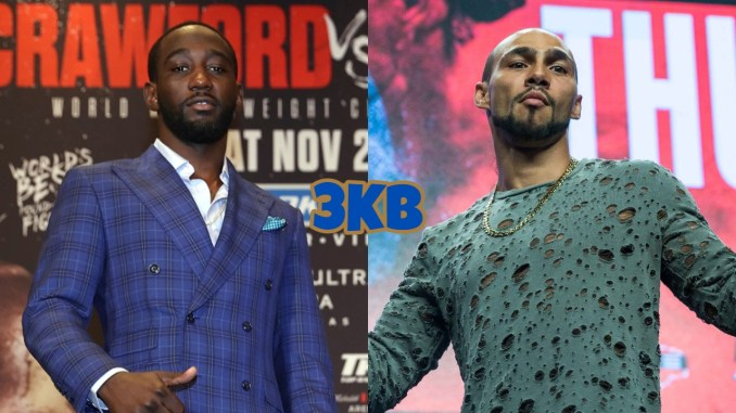 Terence Crawford poses while promoting his fight with Shawn Porter, Keith Thurman poses for the fans