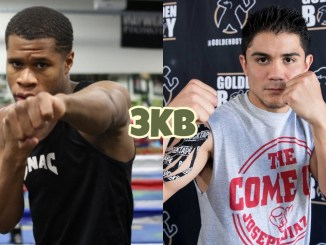 Devin Haney poses with a first extended, Joseph Diaz in a fighting pose