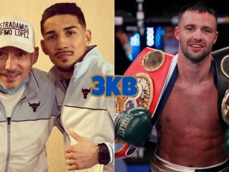 Teofimo Lopez Jr with father/trainer Lopez Sr., undisputed super lightweight champion Josh Taylor with his belts