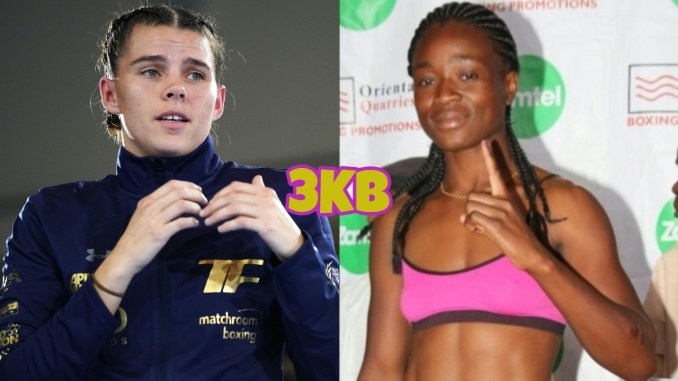 WBO middleweight champion Savannah Marshall in a boxing pose, Lolita Muzeya poses for a picture