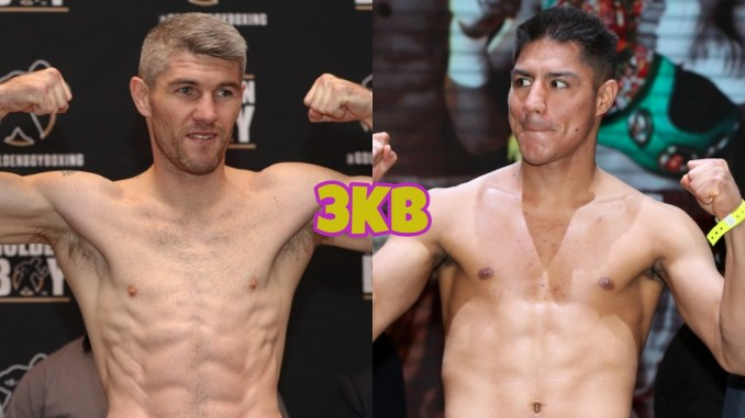 Liam Smith flexes at a fight weigh-in, Jessie Vargas looking to his right