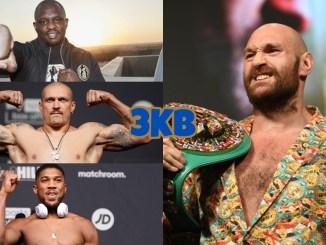 (clockwise from top left) Dillian Whyte, WBC heavyweight champion Tyson Fury, Anthony Joshua, unified champion Oleksandr Usyk