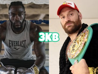 Deontay Wilder set at the edge of a ring, Tyson Fury holding his WBC heavyweight belt