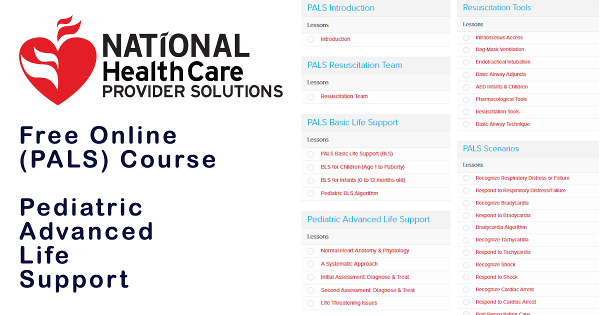 Online Pals Pediatric Advanced Life Support Course 100 Free