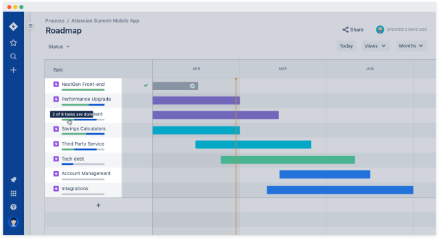 barra de progreso de jira roadmap