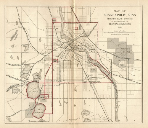 Horace Cleveland's Map of Minneapolis (1883) (via http://minneapolisparkhistory.com)