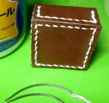 曲がり針で縫った拝み合わせ縫い