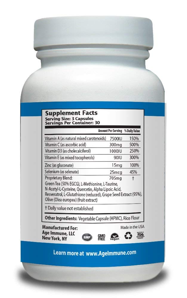 Age Immune All-Natural Non-GMO Cognitive & Anti-Aging Formula - supplement facts