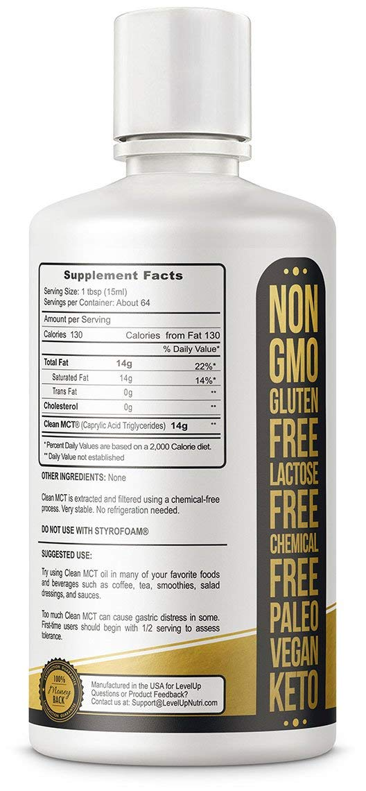 Level Up 100% Pure All Natural Non-GMO C8 Caprylic Acid MCT Oil - supplement facts