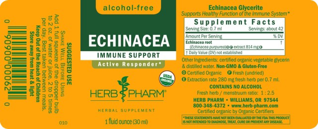 Herb Pharm Organic Echinacea Glycerite - supplement facts