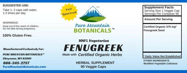 Pure Mountain Botanicals Organic Fenugreek Veggie Capsules - supplement facts